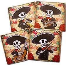 dia de los muertos home decor amazon com day of the dead mariachi band coasters set of 4 dia