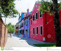 Burano Italy Street With Colorful Houses In Burano Italy Royalty Free Stock