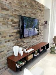 living room wall mount tv ideas stone textured accent wall with
