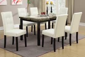 poundex f2094 f1083 faux marble dining table and white chairs 7 pc set