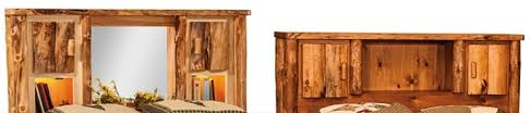 Bed Bookcase Headboard Rustic Aspen Log Bed With Bookcase Headboard From Dutchcrafters Amish