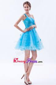 blue one shoulder mini organza prom dama dress with appliques
