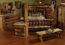 Rustic Bedroom Furniture Sets by Rustic Pine Bedroom Furniture Brown Stained Mahogany Wood Bed