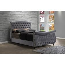 Grey Sleigh Bed Meridian Hudson Grey Velvet Sleigh Bed Free Shipping Today