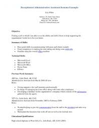 some exle of resume receptionists administrative supportume receptionist reception cv