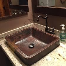 Hammered Copper Bathroom Sink Skirted Vessel Hammered Copper Sink