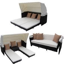 curaçao canopy set in black wicker ivory fabric