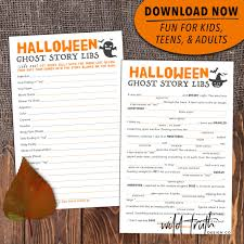 Free Printable Halloween Crossword Puzzles Printable Scary Halloween Mad Lib For Adults Teens U0026 Kids Ghost