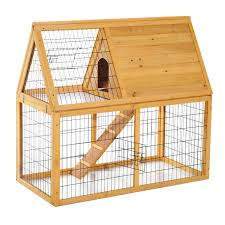 Extra Large Rabbit Cage Pawhut Deluxe Wooden Rabbit Hutch Poultry Cage Aosom Ca