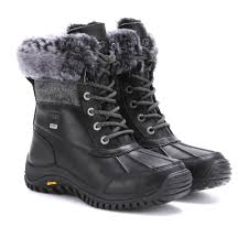 ugg s adirondack ii boots black ugg adirondack tweed shearlinglined leather boots in black lyst