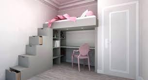 chambre fille avec lit mezzanine chambre enfant avec bureau lit superpose avec bureau lit en