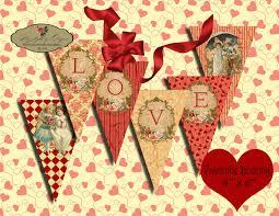 Valentine S Day Flags Valentine Love Garland Printable Vintage Pennants Digital Sheets