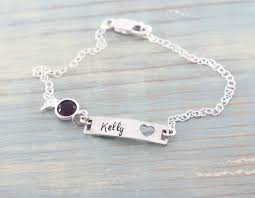 bracelet with name sterling silver name bracelet with birthstone id tag woobie beans