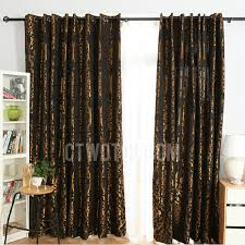 Black And Gold Curtain Fabric Vintage Black Polyester Fabric Blackout Curtain Jacquard With Gold