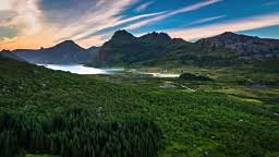 All Island Landscape by Aerial Lofoten Island Landscape At Reine Norway Stock Footage