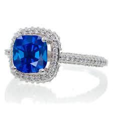 1 5 carat cushion cut designer sapphire and diamond halo
