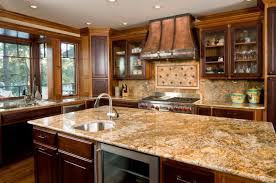 marble kitchen countertop materials with some fruits and two