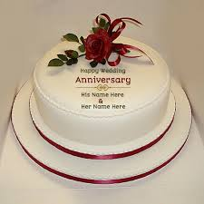 Cool Wedding Anniversary Names With Anniversary Cake With Name