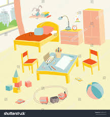 childrens bedroom interior furniture toys kids stock vector