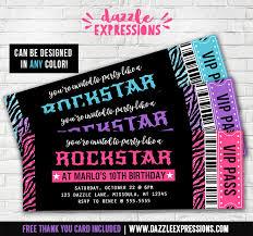printable rockstar ticket birthday invitation glitter zebra