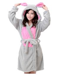 ecollection ladies super soft hooded fleece dressing gown