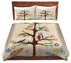 Duvet Covers King Contemporary Dianoche Duvet Covers Twill Owl Bird Tree 2 Contemporary