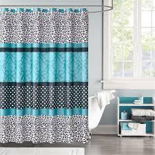 blue zebra print shower curtain damask polka dot teal blue white black
