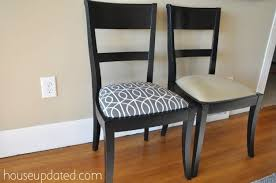 How To Cover Dining Room Chairs With Fabric Recovering Dining Chairs With Dwell Studio Porte Charcoal