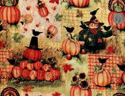 thanksgiving material cotton quilt fabric give thanks scarecrow thanksgiving fall