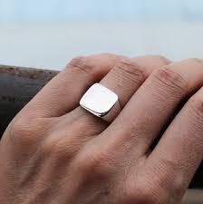 signet wedding ring wellmade genuine 925 sterling silver mens plain square signet ring