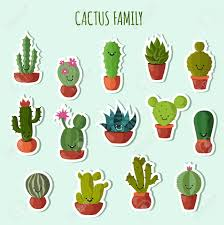 cute plant funny plants vector collection cute cactus with happy faces