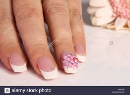 beautiful nails with flower design stock photo royalty free image