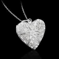 s day locket modyle new silver color jewelry heart photo locket necklace pendant