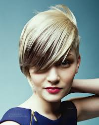 short haircut with angled styling and an extra long fringe
