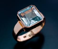 aquamarine ring art deco russian rose gold ring antique