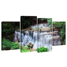 canvas painting for home decoration 4 cascade waterfall woods scene canvas painting decorative wall
