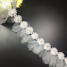 wedding dress lk21 15 yards white flower pearl lace trim wedding dress bridal fabric