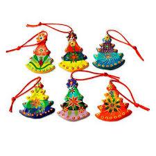 handmade tree ceramic ornaments set of 6 tree novica