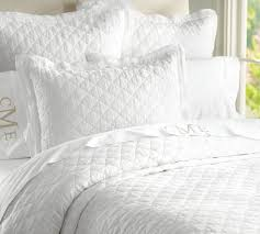 What Is The Difference Between A Coverlet And A Comforter Belgian Flax Linen Diamond Quilt U0026 Sham Pottery Barn