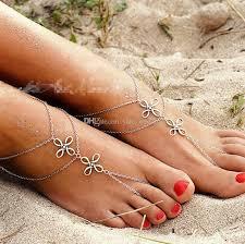 barefoot sandals for wedding 2017 2018 vintage silver barefoot sandals chains wedding
