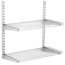 Adjustable Metal Shelves Shop Rubbermaid Homefree Satin Nickel Wire Add On 2 Shelf Kit At