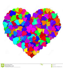 colorful hearts forming big valentines day heart stock image