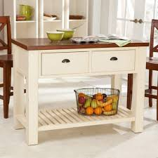 white small size kitchen island with brown wooden tabletop and