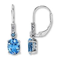 topaz earrings jared blue topaz earrings oval diamond accent 10k white gold