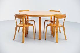 alvar aalto dining table set with chairs artek 1950 mass modern