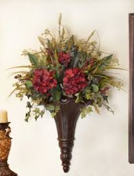 Flower Wall Sconces Chocolate Wall Sconce With Hydrangeas And Greenery Sc12 67