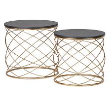 Gold Side Table Set Of 2 Gold Loop Side Tables Contemporary Gold Nest Of Tables