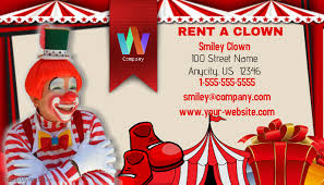 where can i rent a clown for a birthday party rent a clown business card template postermywall