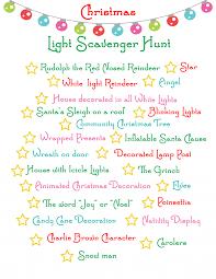 christmas christmas lightavenger hunt ideas for kids list of