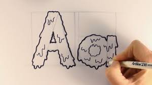 how to draw a cartoon halloween slime letter a and a youtube